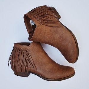 Sugar Brown Fringe Heel Ankle Boots